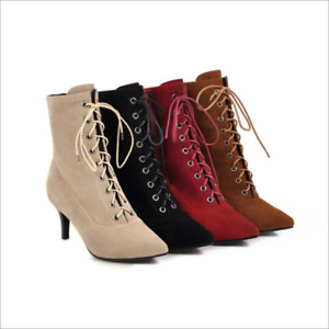 Ladies Pointy Toe Suede Lace Up Kitten Heels Ankle Boots Elegant Casual Shoes