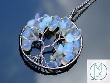 Handmade Opalite Tree of Life Manmade Gemstone Pendant Necklace 50cm Healing
