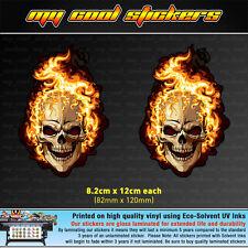 2x Flaming Skull 12cm high Vinyl Sticker Decal for car ute 4x4 window skateboard