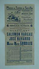 1951 Cartel Plaza de Toros Sevilla Cossio Guadalest Vargas Navarro Carriles Bull