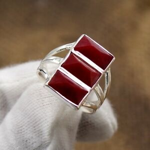 925 Sterling Silver Three Stone Red Ruby Handmade Ring Christmas Gift Jewelry
