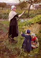 Jameson Middleton A Mother With Her Daughters In The Kitchen Garden A4 Print