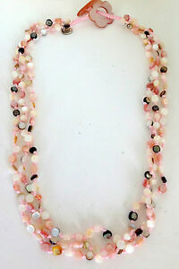 "Women's Pink Mother of Pearl and Multi Color Sajen Offering Beaded 18"" Necklace"