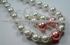 Fashion 8-12MM White & Pink Sea Shell Pearl Round Beads Necklace + Earrings set