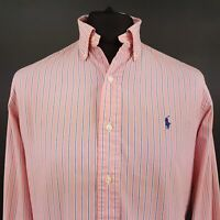 Polo Ralph Lauren Mens Casual Shirt 15.5 33 (MEDIUM) Long Sleeve Pink Custom Fit