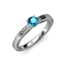 London Blue Topaz Milgrain Work Solitaire Engagement Ring 1.05 ct in 14K Gold