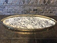 Vintage Metal Oval Vanity Tray 18.25� Long Formica Base Ball Feet-4045