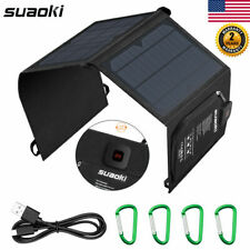 Suaoki 21W USB Solar Panel Folding Power Bank Outdoor Camping Battery Charger