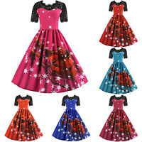 Womens Vintage Rockabilly Lace Christmas Swing Skater Party Casual Xmas Dress