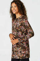 NEW J. JILL M L XL Tunic w/Overlay Knit Top Pima Cotton Blend Floral Brown