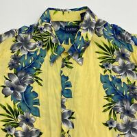 Puritan Button Up Shirt Men's Size XL Short Sleeve Yellow Blue Floral Hawaiian