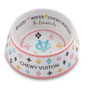 White Chewy Vuiton Dog Bowl NEW