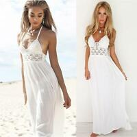 Women Crochet Backless Halterneck Evening Party Boho Maxi Long Dress Sundress LY
