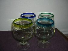 RARE SET OF 4 MEXICAN BUBBLE GLASS BRANDY SNIFTERS MULTIPLE COLORS