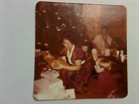 Vintage 60s 70s Photo Asian American Christmas Morning Woman Unwrapping Presents