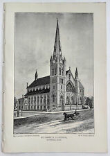 1888 Engraving St. James R. C. Church Haverhill Ma. Rev. James O'Doherty History