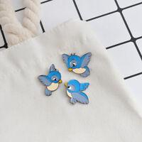 3 Piece/Set Cartoon Alloy Blue Bird Pattern Brooch Pin Collar Badge Kid Gift