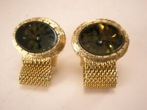 -Green Rhinestone Gold Tone Vintage HICKOK Wraparound Mesh Watchband Cuff Links