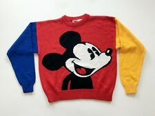 New listing Mickey Mouse Blue Red Yellow Knit Sweater Disney Vintage