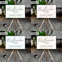 Personalised Wedding Welcome Sign Board Chart Modern Marble Design | A1 A2 A3