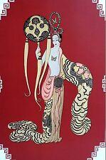 Erte Print 1987 ASIAN PRINCESS BAMBOO Chinese Girl Art Deco Fashion Illustration