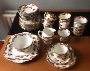 38 Piece Chinese Tea Set. Cup & Saucer, Sugar Bowl, Jug, Side Plates, Cake Plate