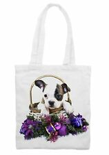 Christmas French Bulldog in Basket Shoulder Shopping Tote Bag