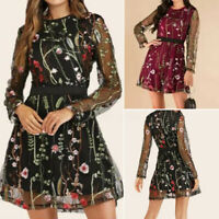 ZANZEA Womens Long Sleeve Floral Embroidery Tunic Lace Patchwork Dress Plus Size