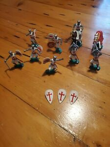Vintage Timpo Toys Lot 9 Medieval Knights foot soldiers and horses 1960's shield