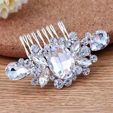BRIDAL HAIR Accessory Comb Debutante Vintage Crystal Silver Bride Clip Diamanté