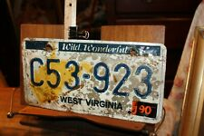 1990 West Virginia License Plate  C53-923 ROUGH