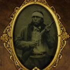 CIVIL WAR COLLODION AMBROTYPE 1861-1864 NORTH BROTHERS PAWNEE SCOUT ARMED IMAGE