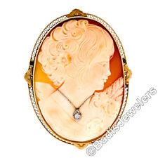 groß selten antik 14k Gold GESCHNITZTER GEMME & Diamant offen filigraner Brosche