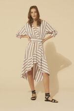 Ba&sh Dress Natasia Stripe Pink Blue Gold French Size 2 BNWT