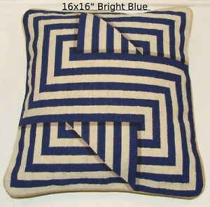 Geometric Cushion Cover Blue Needlepoint Tapestry Handmade