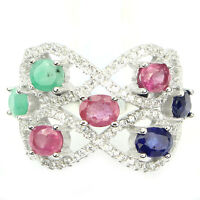 Sublime Natural Red Ruby Green Emerald Blue Sapphire,CZ 925 Sterling Silver BAND