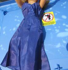 """Revlon Doll Chemise Lingerie Satin Gown Navy Blue Adjustable Straps 20"""" 1950's"""