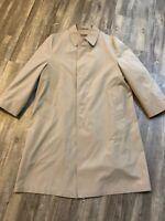 Hart Schaffner & Marx Wool Inside Trench Rain Khaki Coat Mens Size 40S Overcoat