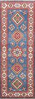 2x6 Blue Super Kazak Geometric Oriental Runner Rug Hand-Knotted Wool Carpet