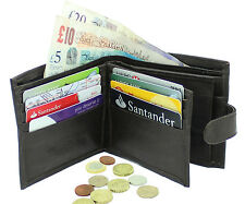 MENS RFID BLOCKING SOFT REAL LEATHER WALLET CREDIT CARD HOLDER PURSE 340 BLACK