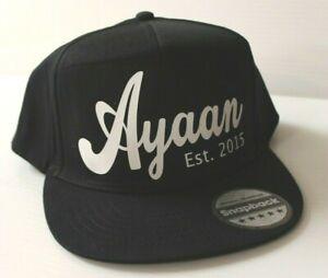 * PERSONALISED * Snapback baseball Cap ANY name, company name logo Adult & Kids