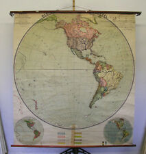 Murs Carte occidentale Hémisphère 174x192cm vintage planiglobe Wall Chart ~ 1914