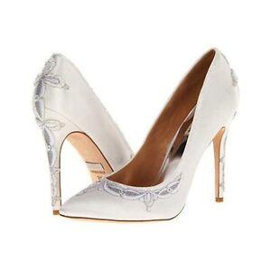 "Badgley Mischka ""Balance"" wedding bridal white satin beaded lace pump shoes"