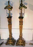"""Pair 19th C French Italian Wood Carved Gold Gilt Candle Stick Lamps 32"""""""