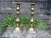 Pair of antique brass candlesticks - stunning shape antique decor - 24.5 cm tall