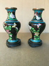 PAIR (2) ANTIQUE CHINESE CLOISONNE VASES