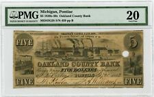 1843 $5 The Oakland County Bank - Pontiac, MICHIGAN Note PMG Very Fine 20
