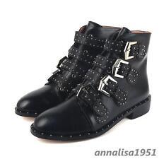 Punk Damen Stiefeletten Nieten Boots Rund Riemen Mittelhocher Schuhe Ankle Boots
