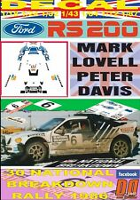 DECAL FORD RS 200 M. LOVELL NATIONAL BREAKDOWN R. 1986 5th (03)