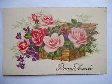 """CPSM """"Bonne année - Bouquet de roses et violettes dans un panier d'osier"""""""